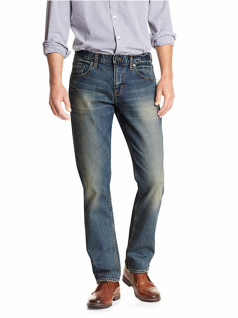 Athletic Fit Stretch Distressed Jean