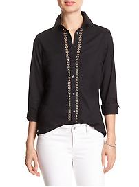 Lace-Placket Tailored Poplin Shirt