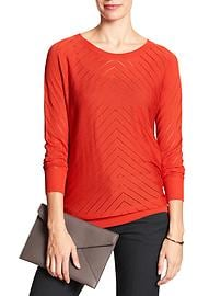 Pointelle Chevron Dolman Sweater