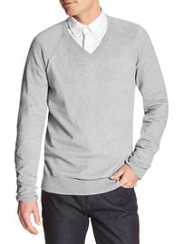 Heather Cotton Vee Sweater
