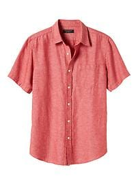 Standard-Fit Short-Sleeve Linen Blend Shirt