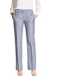 Martin-Fit Chambray Linen/Cotton Tailored Trouser