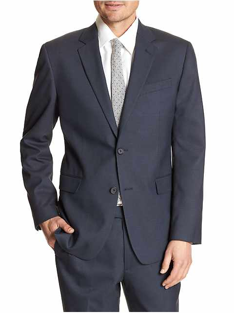 Standard-Fit Stretch Navy Blazer