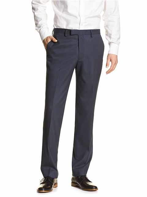 Standard-Fit Stretch Navy Trouser