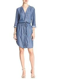 Chambray Tunnel-Tie Shirtdress