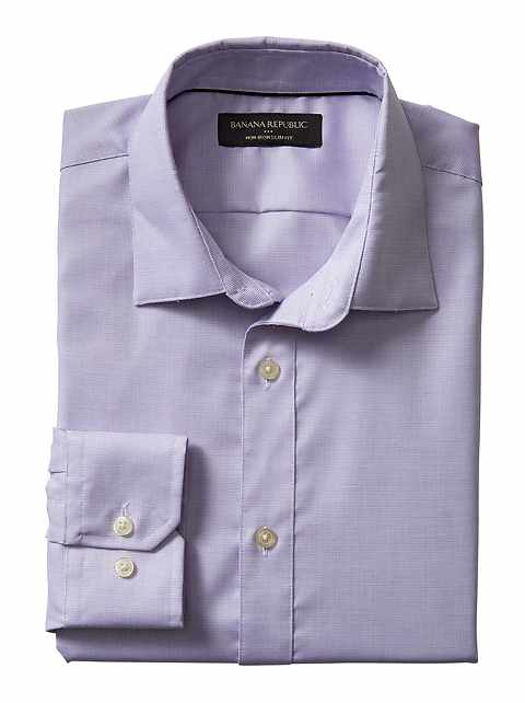 Slim-Fit Non-Iron Purple Shirt