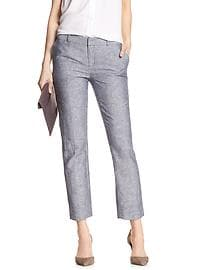 Hampton-Fit Stripe Chambray Linen/Cotton Tailored Crop