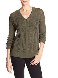 Long-Sleeve V-Neck Open Stitch Sweater