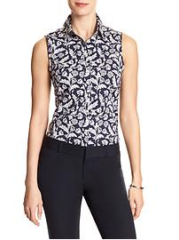 Print Poplin Sleeveless Tailored Shirt