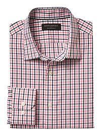 Slim-Fit Non-Iron Pink Grid Shirt