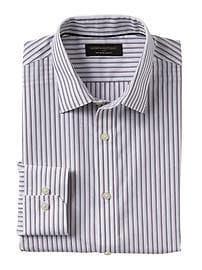 Slim-Fit Non-Iron Purple Stripe Shirt