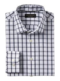 Slim-Fit Non-Iron Blue Plaid Shirt