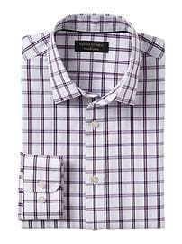 Slim-Fit Non-Iron Purple Plaid Shirt