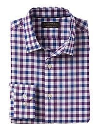 Standard-Fit Non-Iron Purple Gingham Shirt