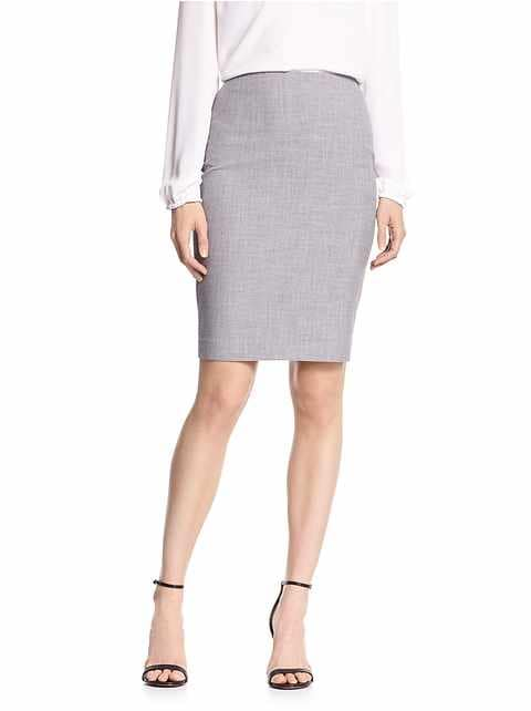Grey Melange Pencil Skirt