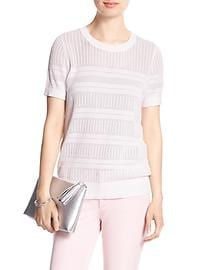 Short-Sleeve Tipped Pointelle Sweater