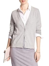 Long-Sleeve Scallop-Trim Cardigan