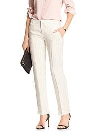 Reegan-Fit Linen Pinstripe Slim Straight Suit Pant
