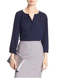 Half-Placket Pleated Top