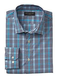 Standard-Fit Non-Iron Blue Plaid Shirt