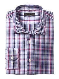 Standard-Fit Non-Iron Purple Plaid Shirt