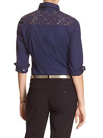 Tailored Poplin Lace-Yoke Shirt