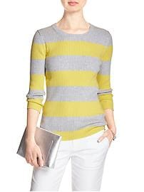 3/4-Sleeve Ribbed Knit Sweater