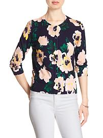 3/4-Sleeve Floral Crew-Neck Forever Cardigan