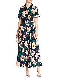 Short-Sleeve Print Maxi Shirtdress
