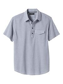 Standard-Fit Short-Sleeve Gingham Seersucker Shirt