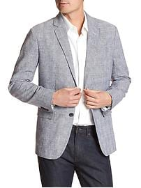 Tailored Slim-Fit Plaid Linen Blend Blazer