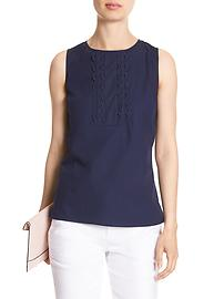 Sleeveless Scallop-Front Top