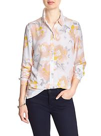 Print Drapey Classic Buttondown Shirt