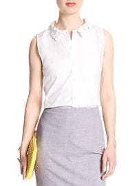 Sleeveless Lace-Collar Tailored Shirt
