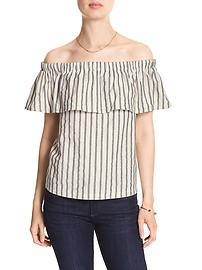 Stripe Off-Shoulder Ruffle Top