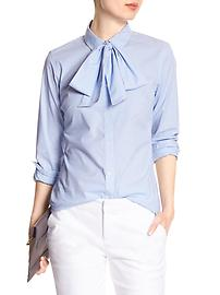 Striped Tie-Neck Tailored Shirt