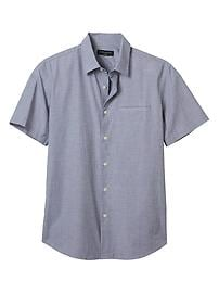 Slim-Fit Grey Cotton Stretch Short-Sleeve Shirt