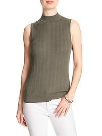 Sleeveless Ribbed Mock Neck Sweater