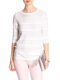 3/4-Sleeve Textured Boatneck Sweater
