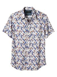 Standard-Fit Soft Wash Blue Print Short-Sleeve Shirt