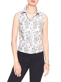 Sleeveless Print Tailored Shirt