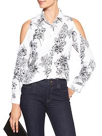 Print Drapey Cold-Shoulder Classic Shirt