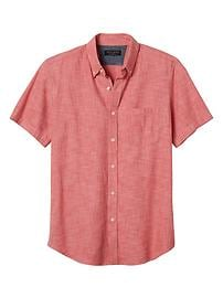 Standard-Fit Soft Wash Red Short-Sleeve Shirt