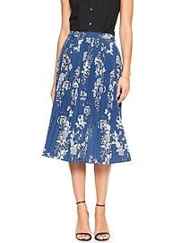 Print Pleated Midi Skirt