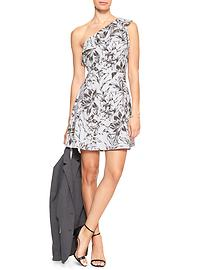Print One-Shoulder Fit and Flare Dress