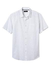 Standard-Fit Slub Cotton Anchor Short-Sleeve Shirt