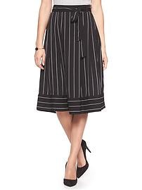 Striped Tie-Waist Midi Skirt