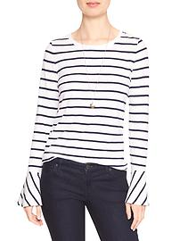 Stripe Malibu Scoop-Neck Flute-Sleeve Tee