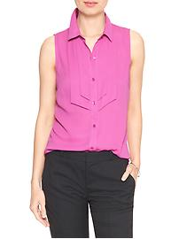 Sleeveless Pieced-Placket Classic Shirt