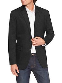 Standard-Fit Stretch Knit Black Blazer